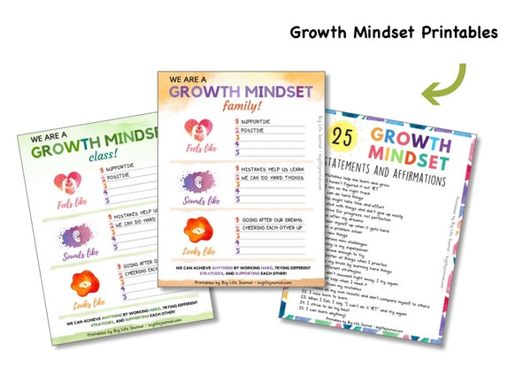 Growth Mindset statements printable kids big life journal