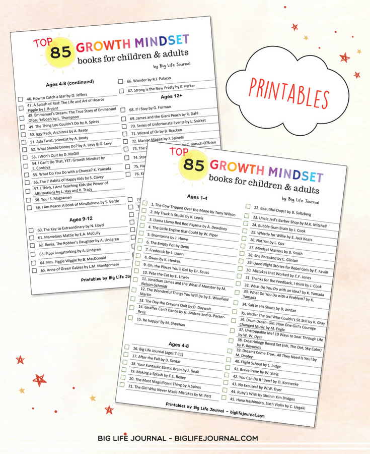 growth mindset resilience book list kids - big life journal