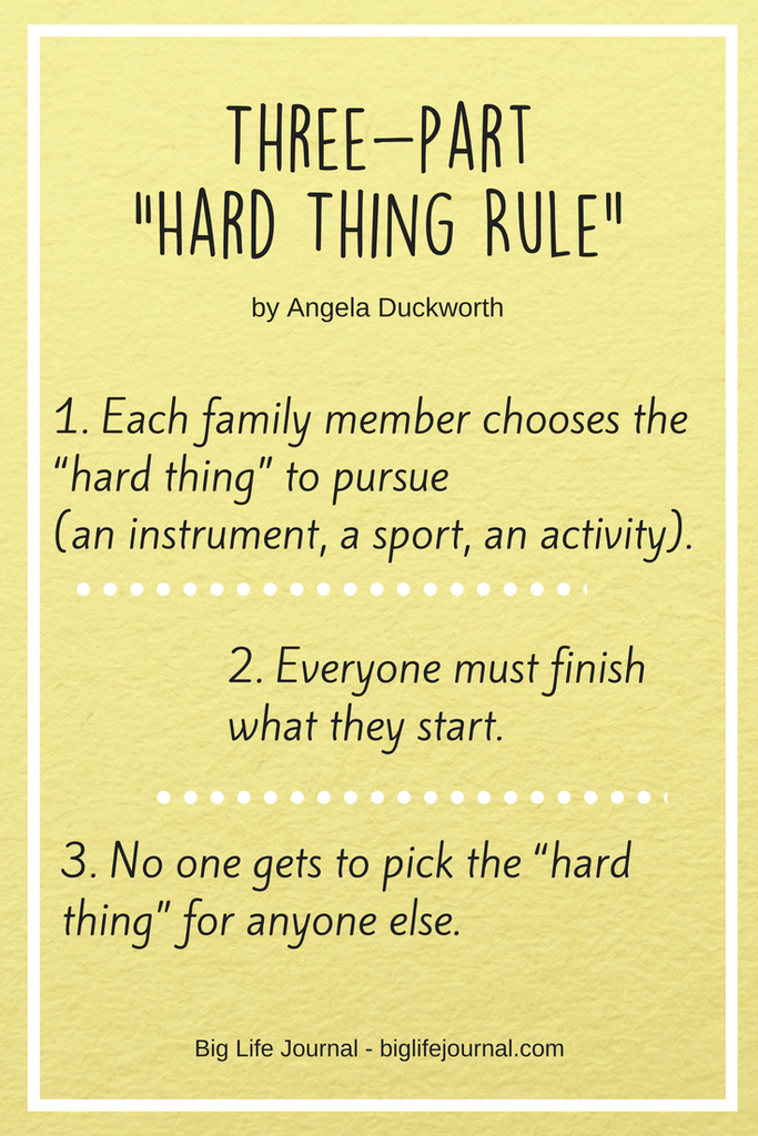 "A ""Hard Thing Rule"" by Angela Duckworth is a great family activity to build grit and resilience."