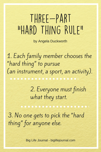 Three-part hard thing rule by Angela Duckworth