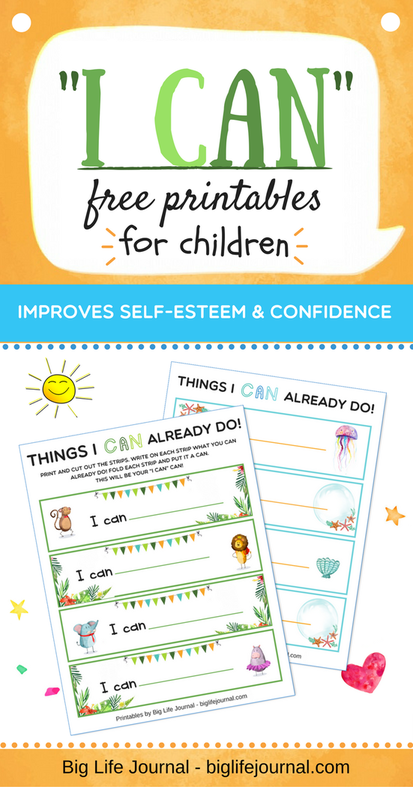 "A free printable for children which helps build their self-esteem and confidence. A great ""I CAN can"" activity for home or classroom."