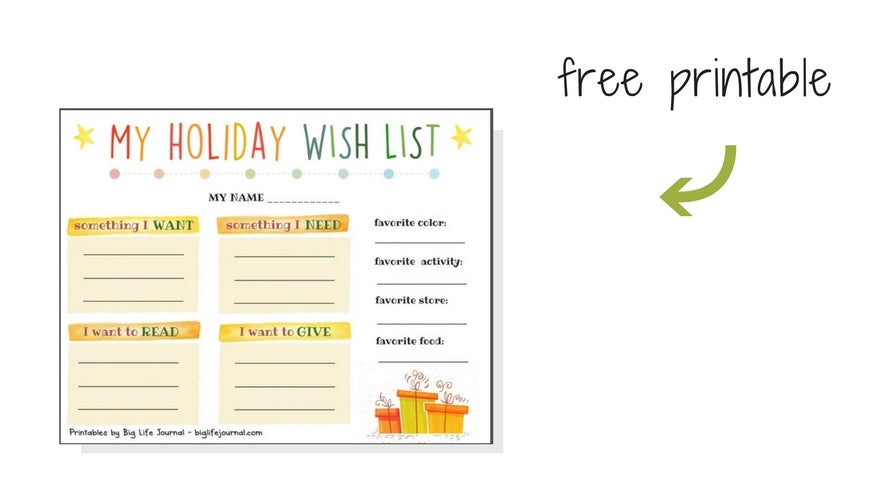 My holiday wish list printable for kids