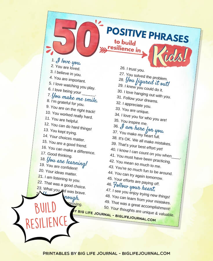 positive phrases kids - big life journal