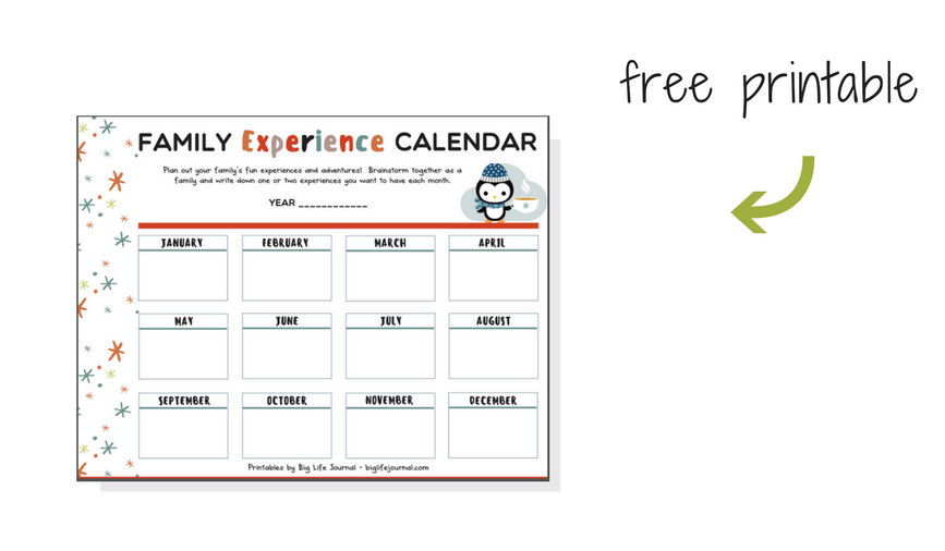 Printable experience calendar for families