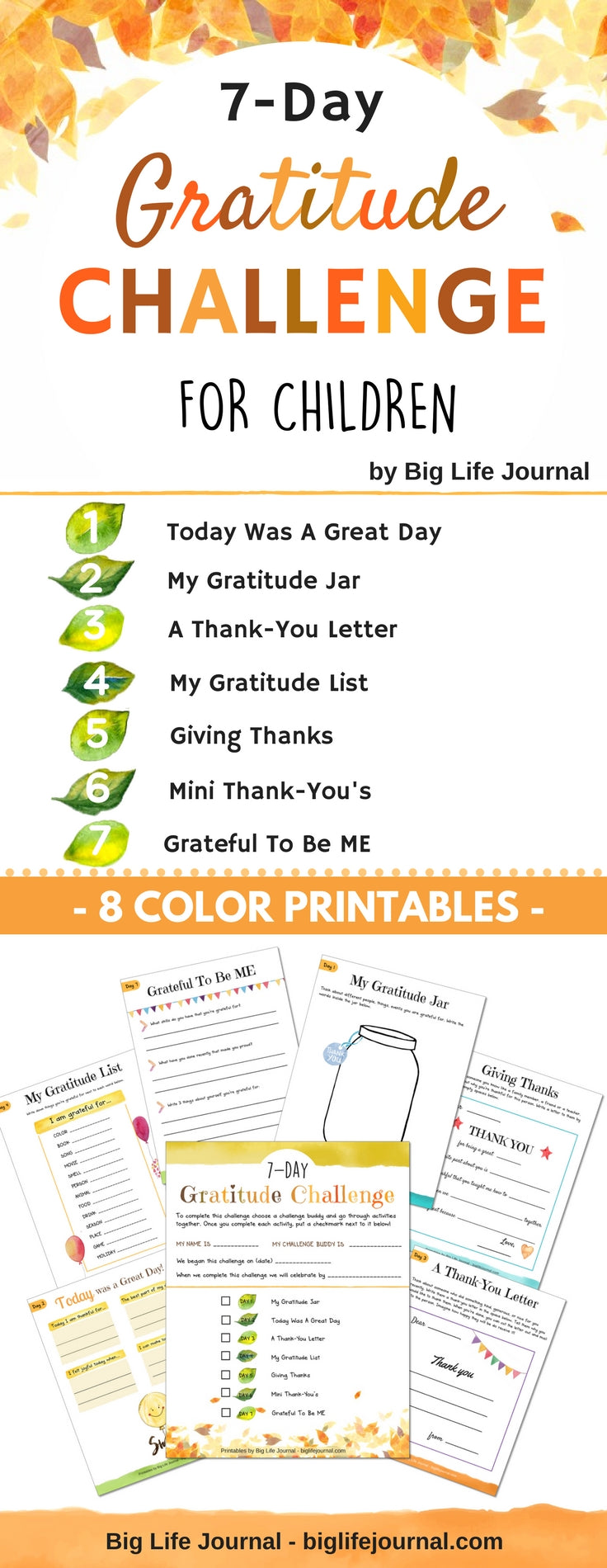 Printable gratitude challenge for children. A great activity for home or a classroom.