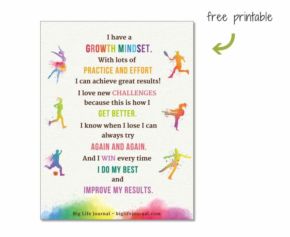 Free printable poster for children in sports (growth mindset).
