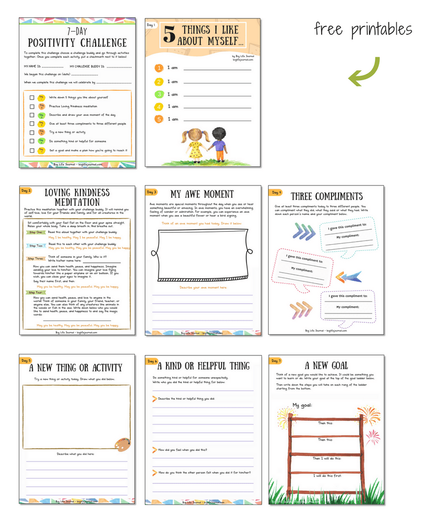 A set of free printable worksheets designed for the positive attitude challenge activities for kids!