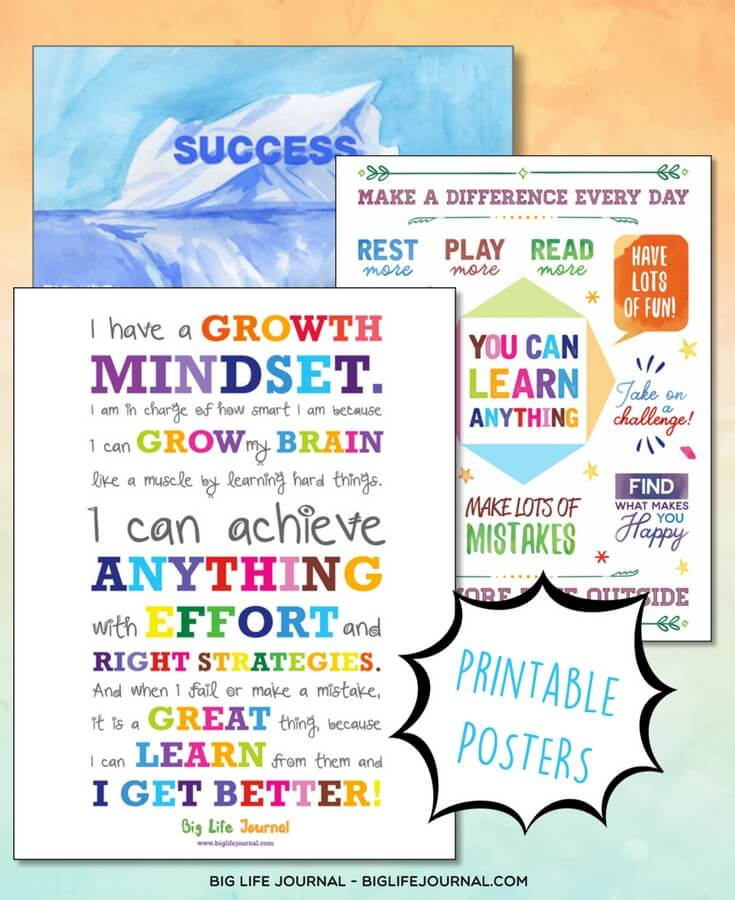printable growth mindset posters for kids classroom