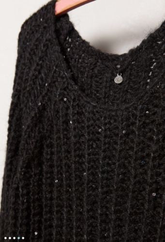 f605c14a ... Knitted & Knotted Sunstitch Pullover Sweater Black Sparkly  Anthropologie ...
