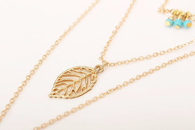 Long Multi-layer Leaf Pendant Necklace