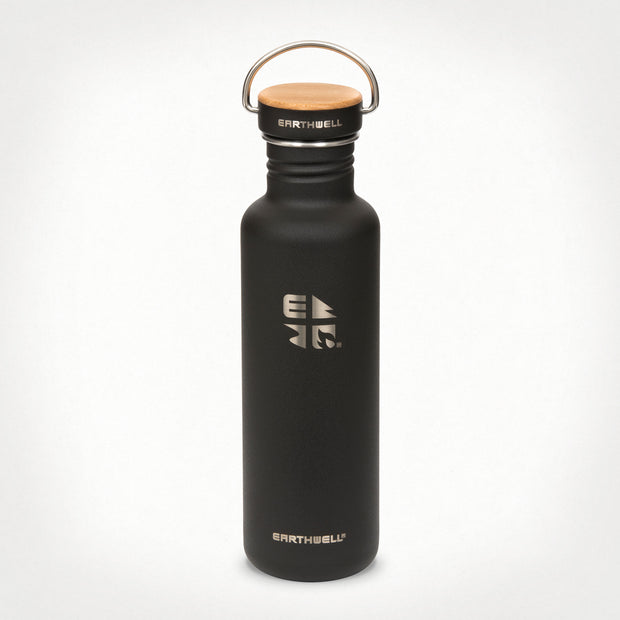 27oz (800 ml) Earthwell® Woodie™  Bottle w/ Maple Cap - Volcanic Black