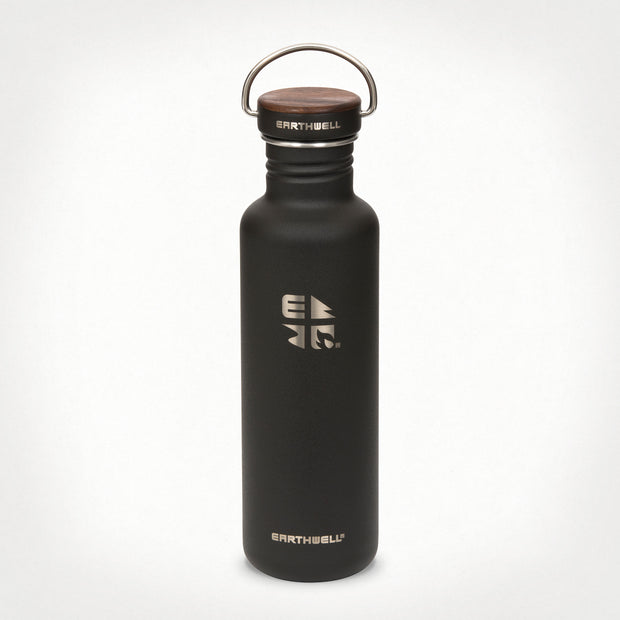 27oz (800 ml) Earthwell® Woodie™  Bottle w/ Walnut Cap - Volcanic Black