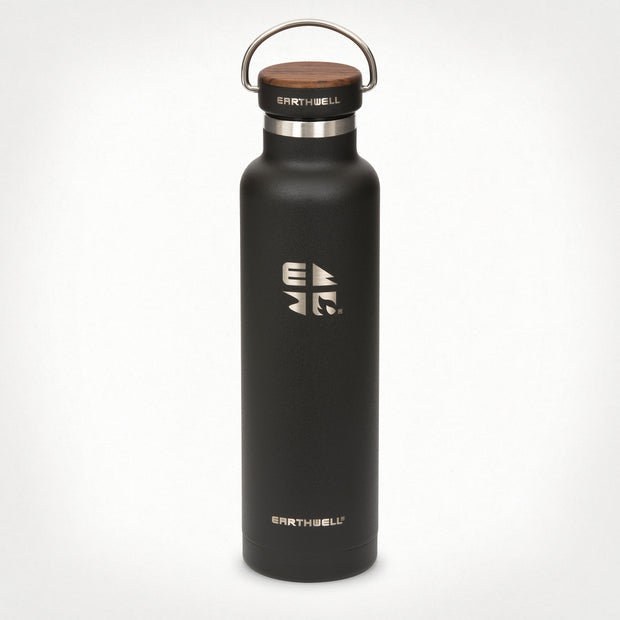 22oz (650 ml) Earthwell® Woodie™ Vacuum Bottle w/ Walnut Cap - Volcanic Black