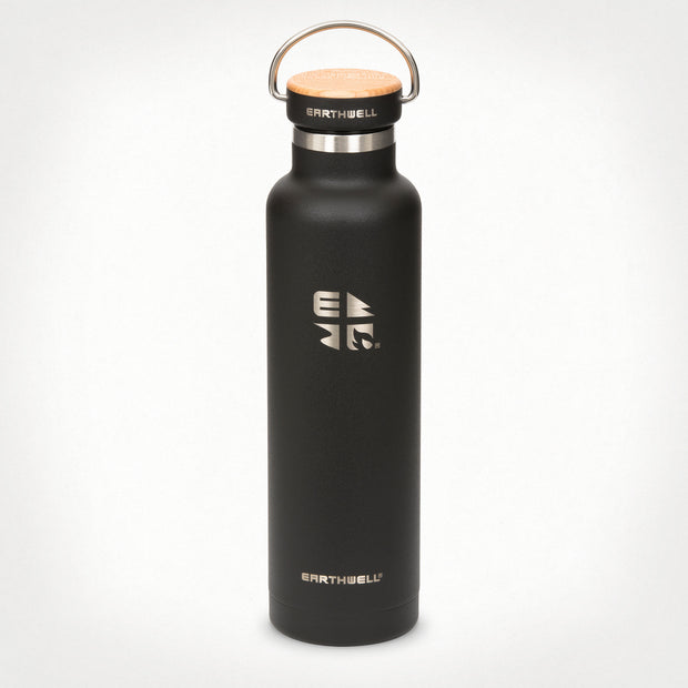 22oz (650 ml) Earthwell® Woodie™ Vacuum Bottle w/ Maple Cap - Volcanic Black