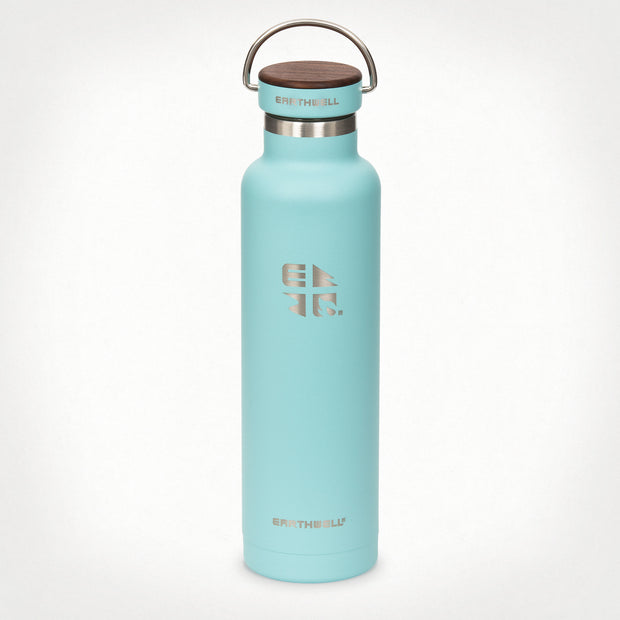 22oz (650 ml) Earthwell® Woodie™ Vacuum Bottle w/ Walnut Cap - Aqua Blue