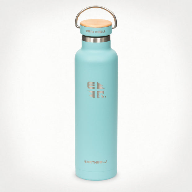 22oz (650 ml) Earthwell® Woodie™ Vacuum Bottle w/ Maple Cap - Aqua Blue