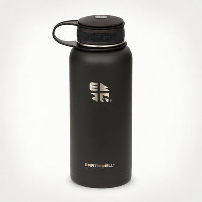 32 oz (.95L) Earthwell® Kewler™ Wide Mouth Vacuum Insulated Bottle - Volcanic Black