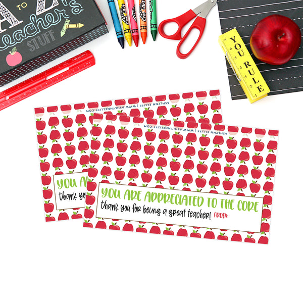 Printable (Instant Download) Apple Teacher Appreciation Goodie Bag Toppers