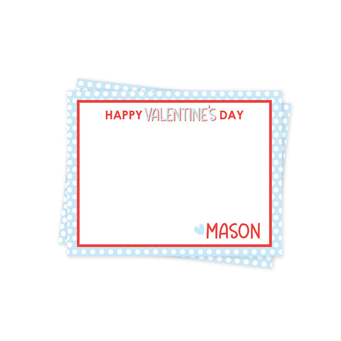Blue Polka Dot Valentines Day Stationery