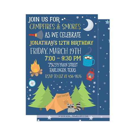 Campfires & S'mores Party Invitation