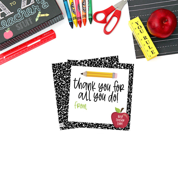 Printable (Instant Download) Composition Teacher Appreciation Gift Tags