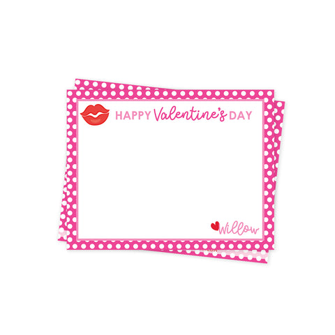 Pink Polka Dot Valentines Day Stationery