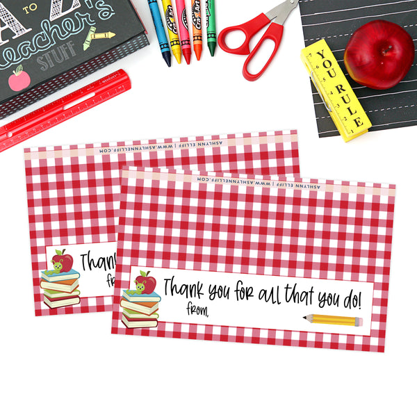 Printable (Instant Download) Red Teacher Appreciation Goodie Bag Toppers