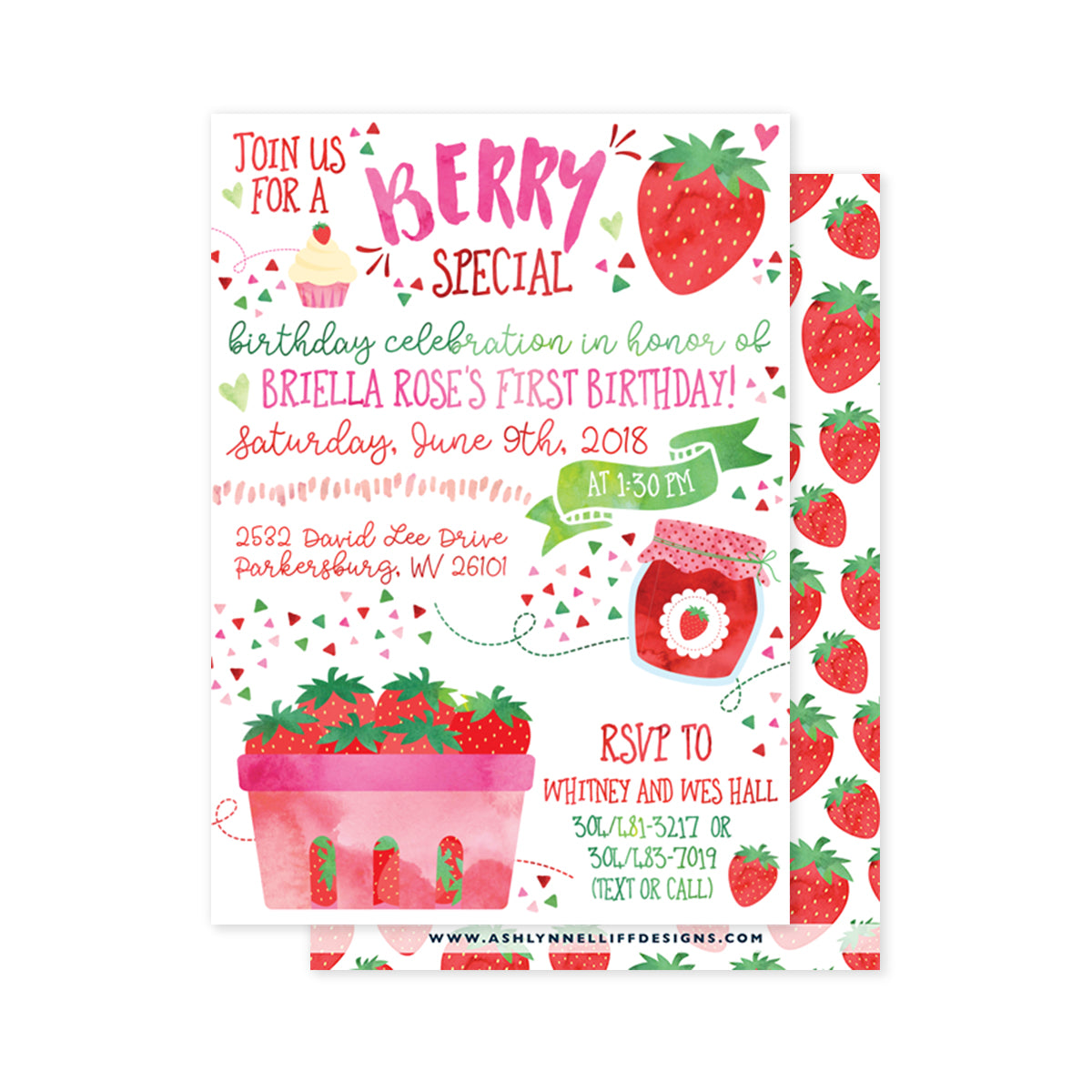 Strawberry Party Invitation