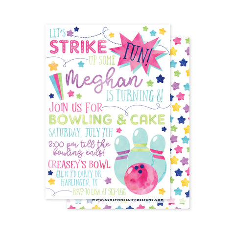 Strike up some Fun (Bowling) Party Invitation