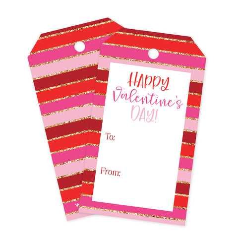 Valentines Striped Gift Tags