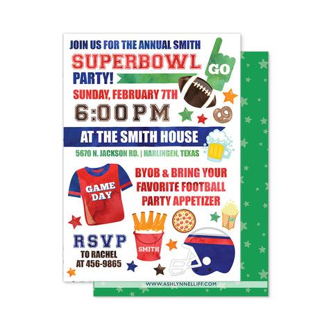 Super Bowl Football Party Invitation