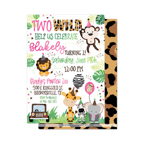 Two Wild Safari Party Invitation