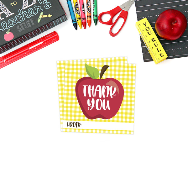 Printable (Instant Download) Yellow Teacher Appreciation Gift Tags