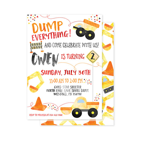 Dump Everything (Construction) Party Invitation