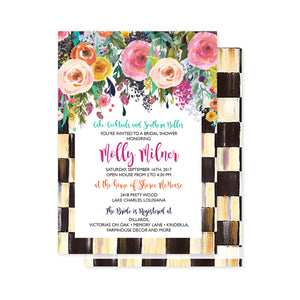 Floral Checkered Party Invitation