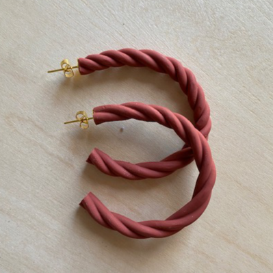Braided Clay Hoop Earrings