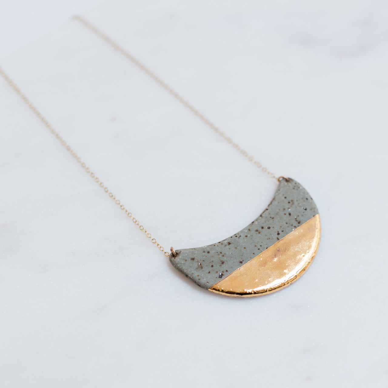 Dipped Porcelain Crescent Wave Necklace