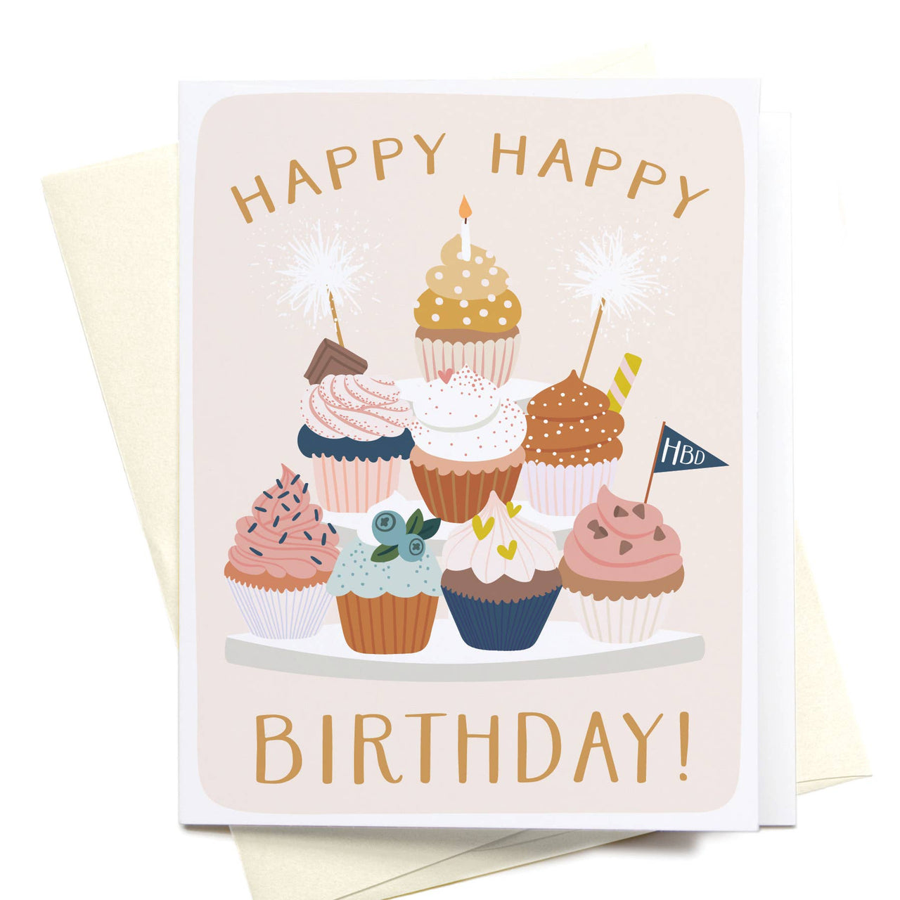 Happy Happy Birthday! Cupcake Stand Greeting Card