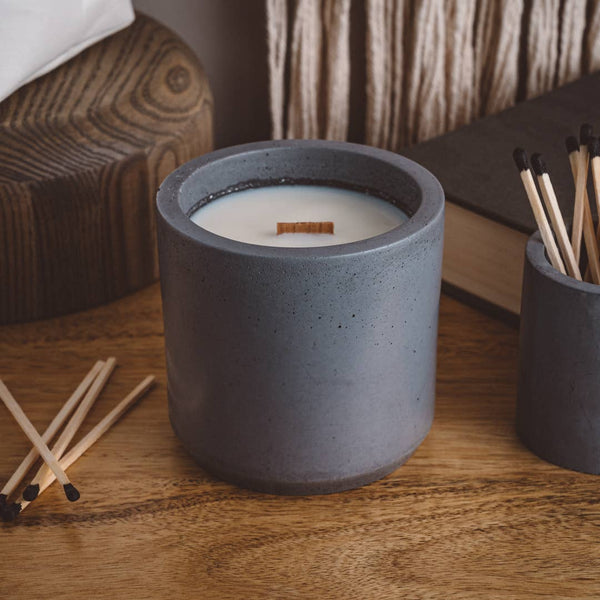 Alpine Fir - Large Cement Candle - Charcoal