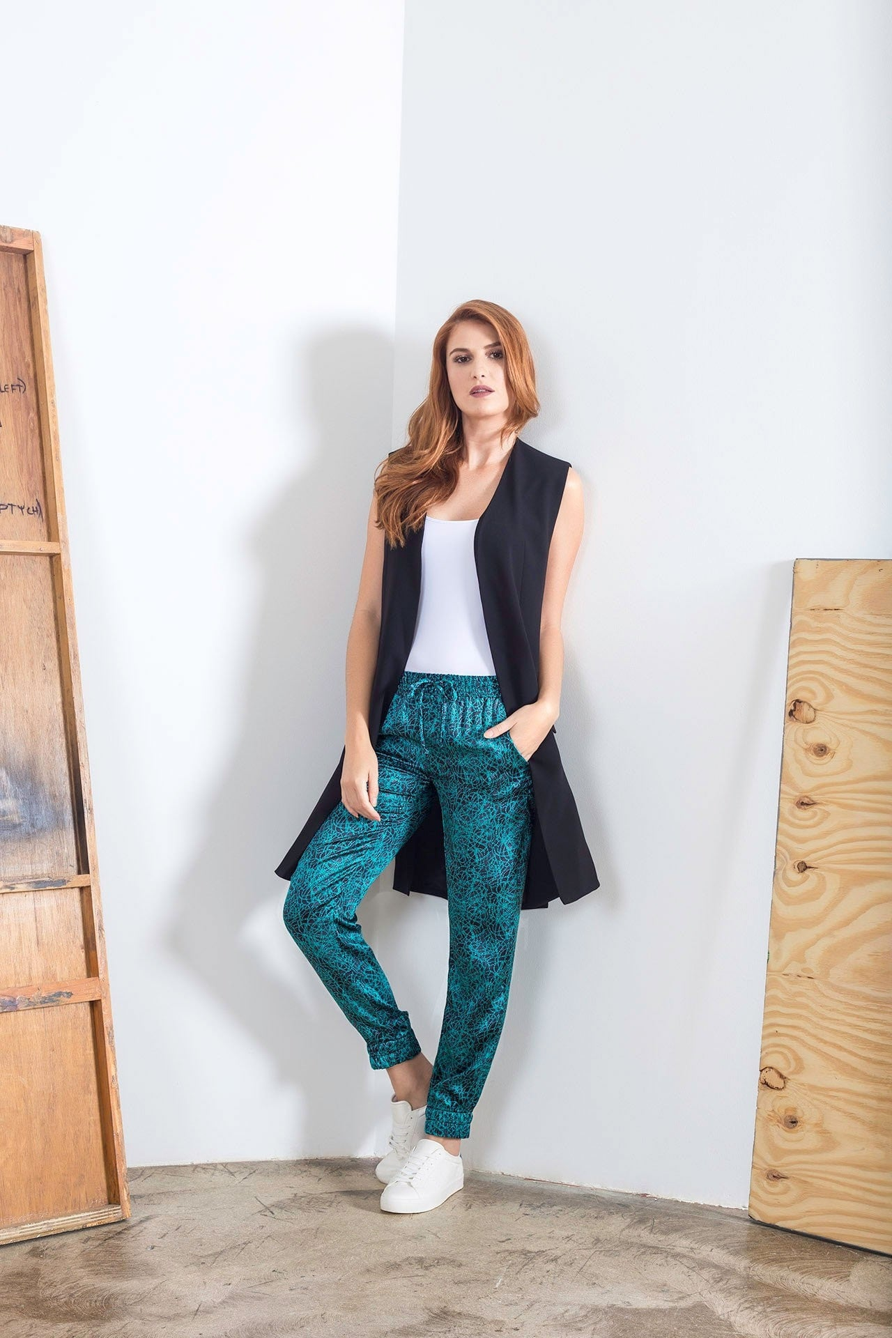 Allover Pant - Green Knot Print Pants - artTECA