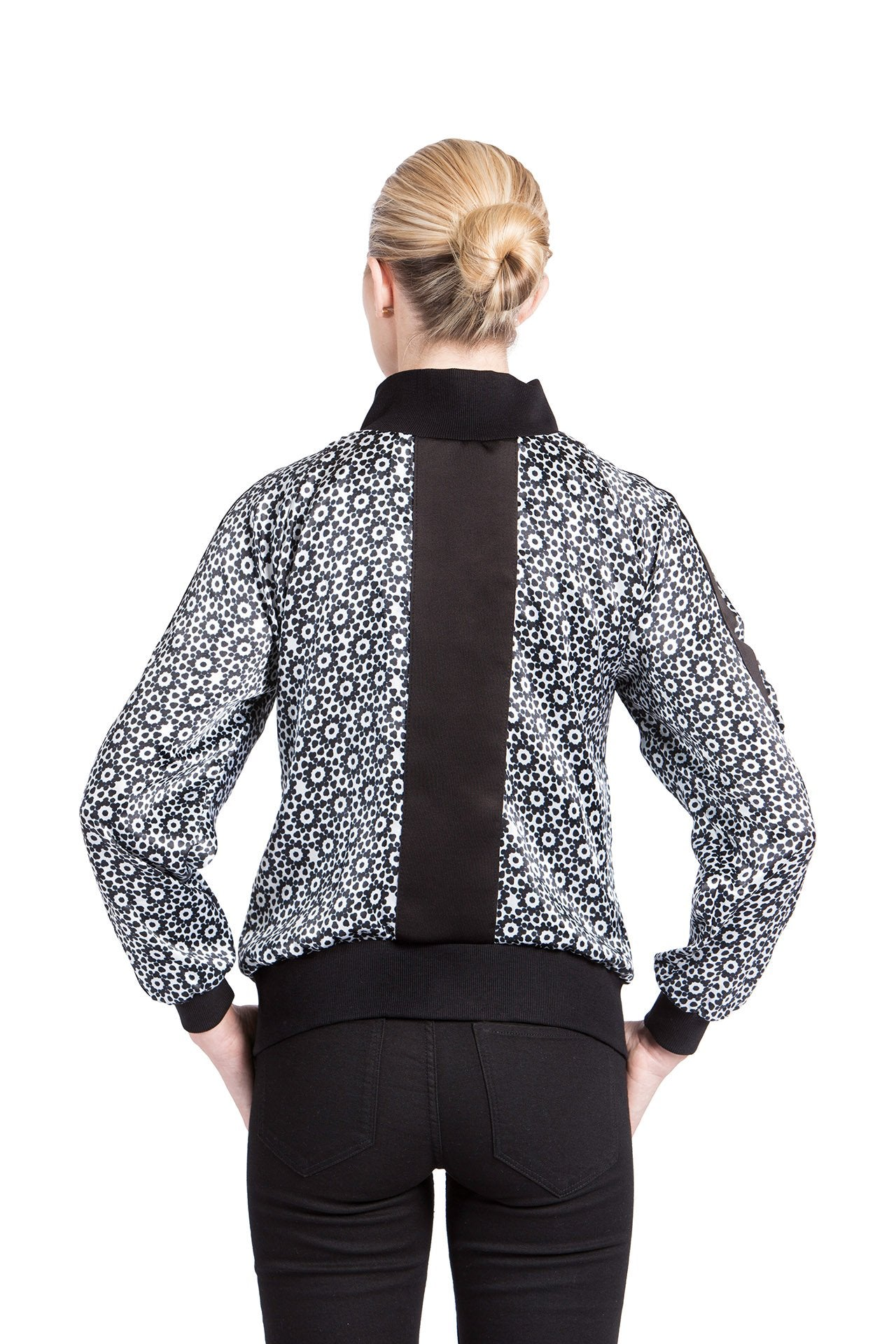 Allover Bomber Jacket- Black Mantra Print Jackets - artTECA