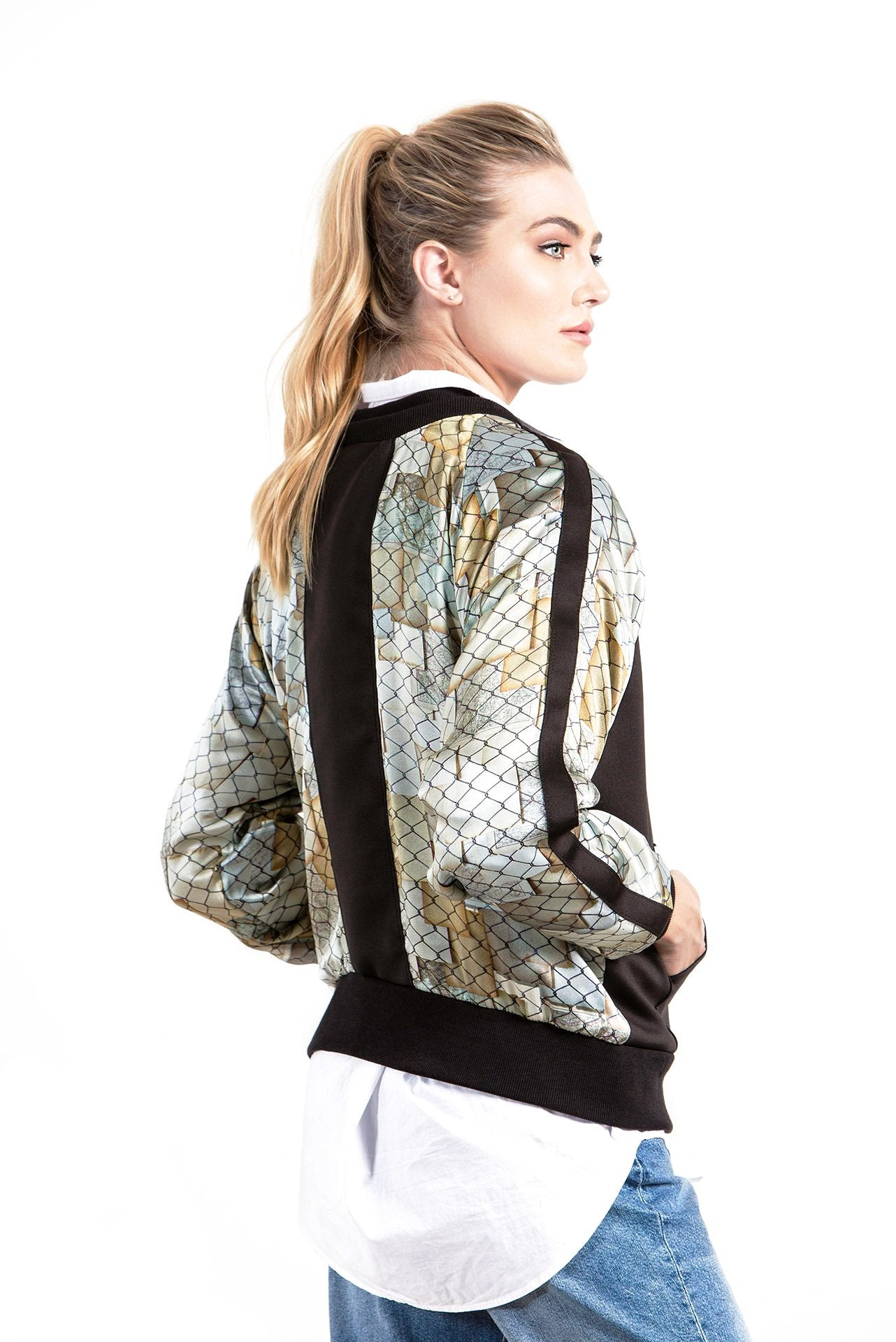Allover Bomber Jacket - Fence Map Print Jackets - artTECA