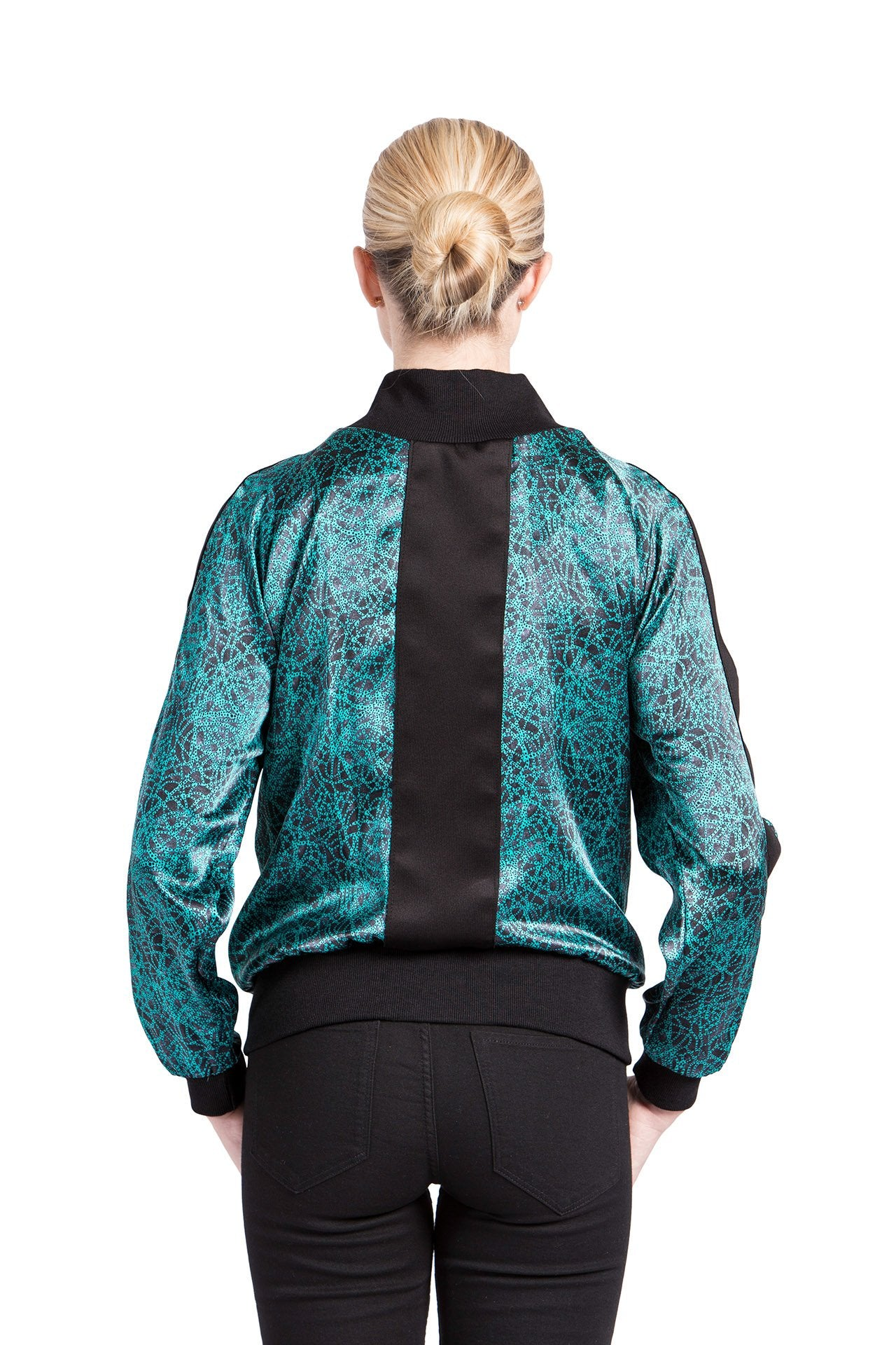 Allover Bomber Jacket - Green Knot Print