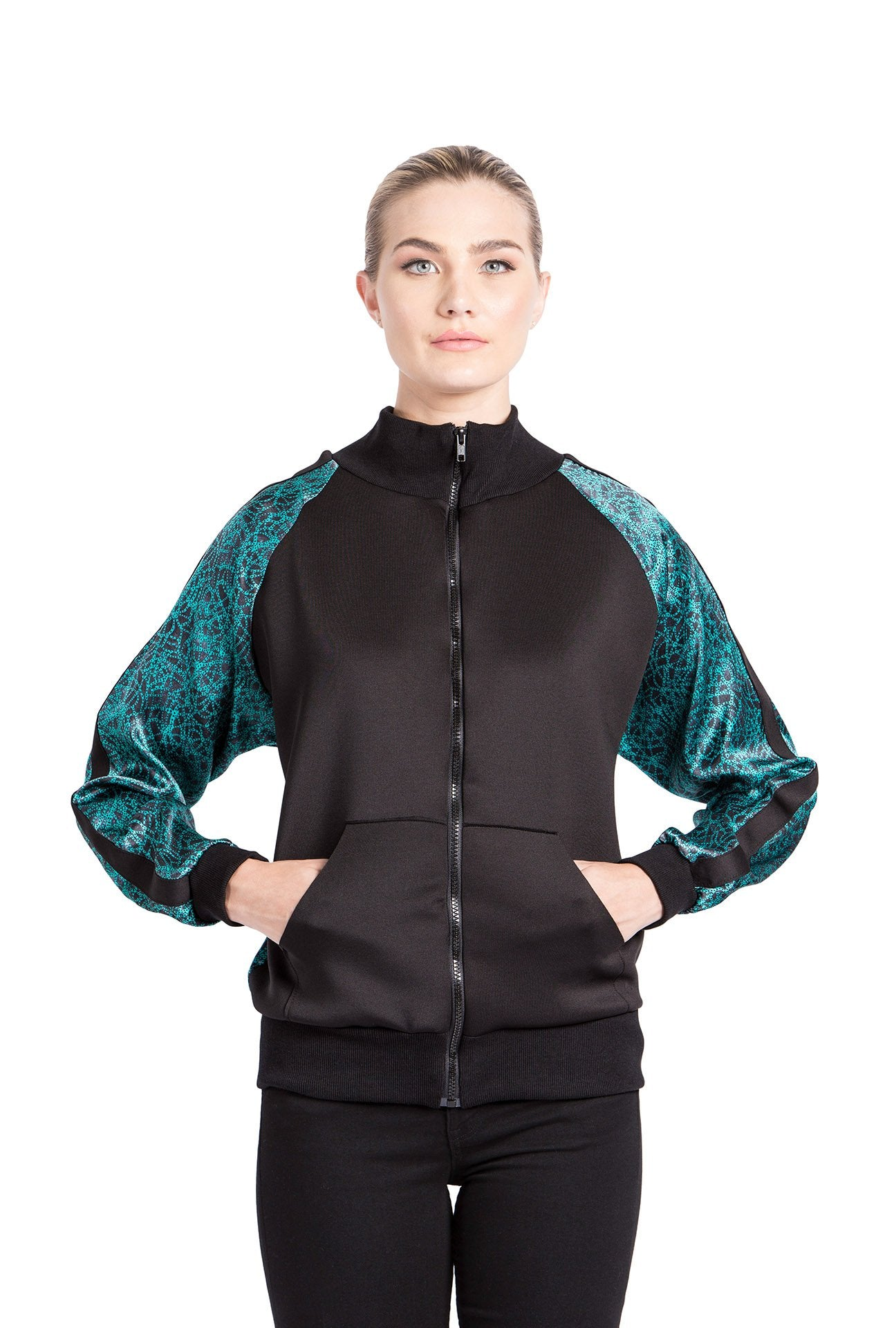 Allover Bomber Jacket - Green Knot Print Jackets - artTECA