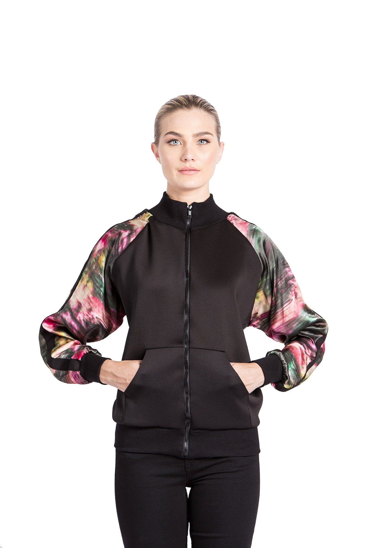 Allover Bomber Jacket - Rose Graphite Print Jackets - artTECA