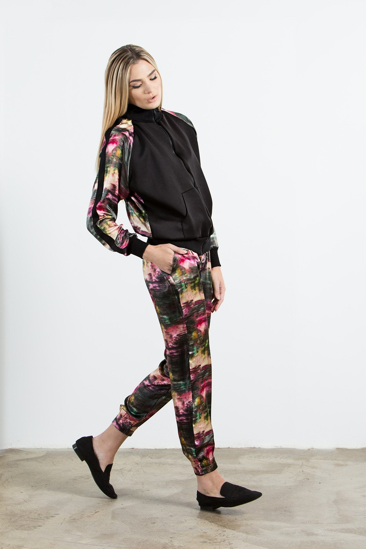 Allover Pant - Rose Graphite Print Pants - artTECA