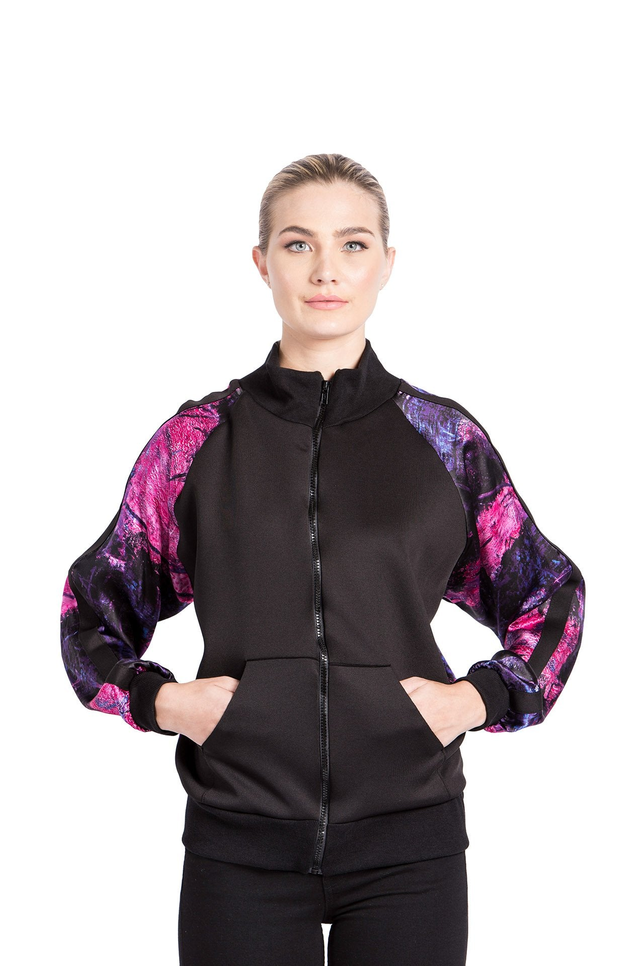 Allover Bomber Jacket - Rose Purple Bar Print Jackets - artTECA