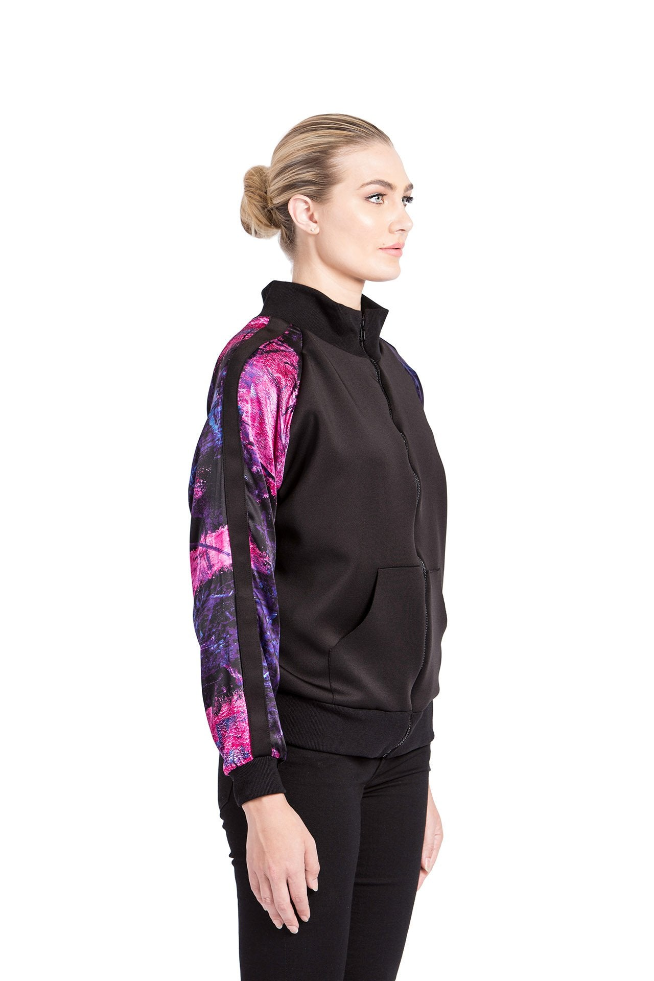 Allover Bomber Jacket - Rose Purple Bar Print
