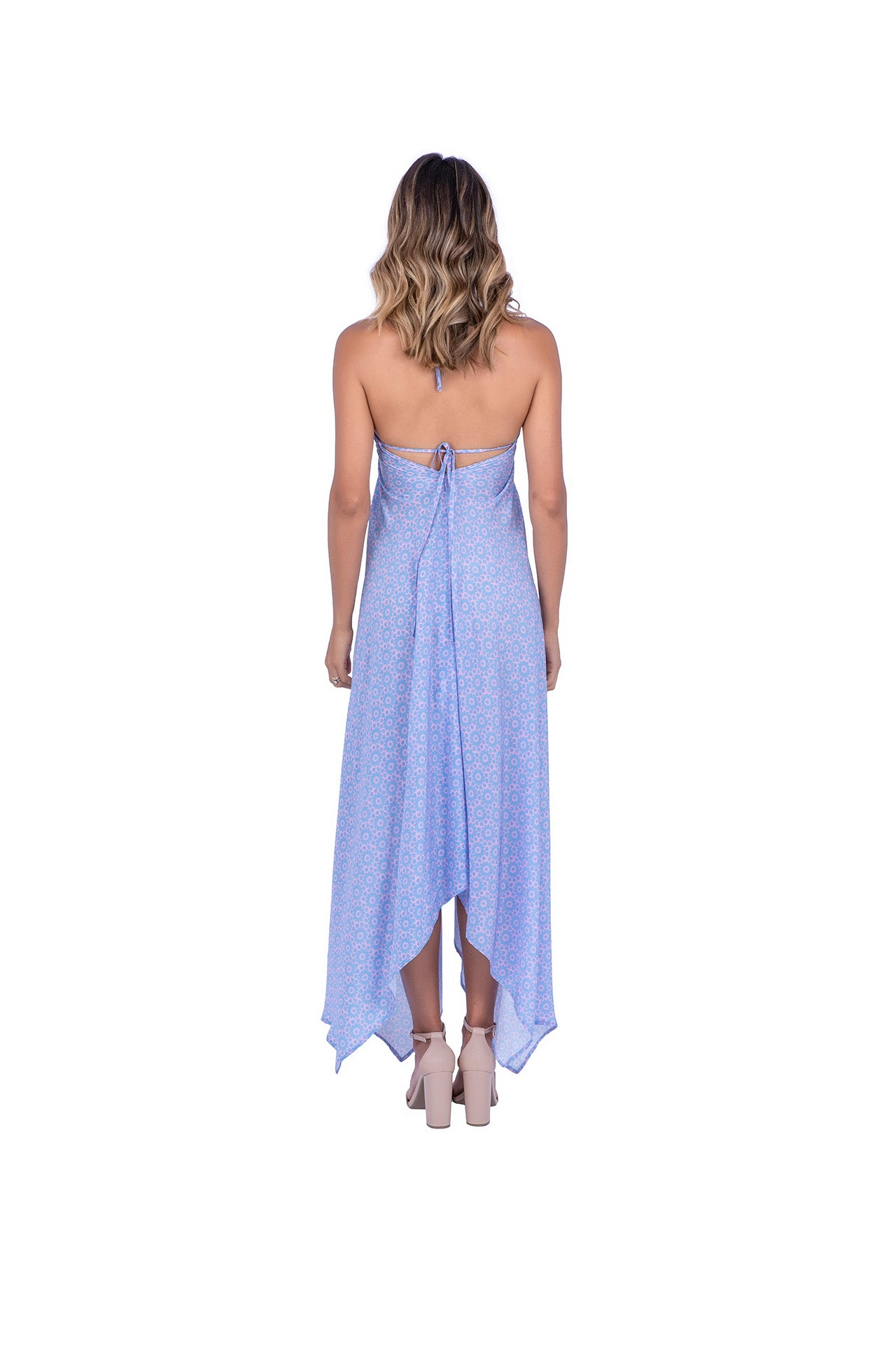 Fairy Silk Dress - Pink Blue Mantra Print Dresses - artTECA