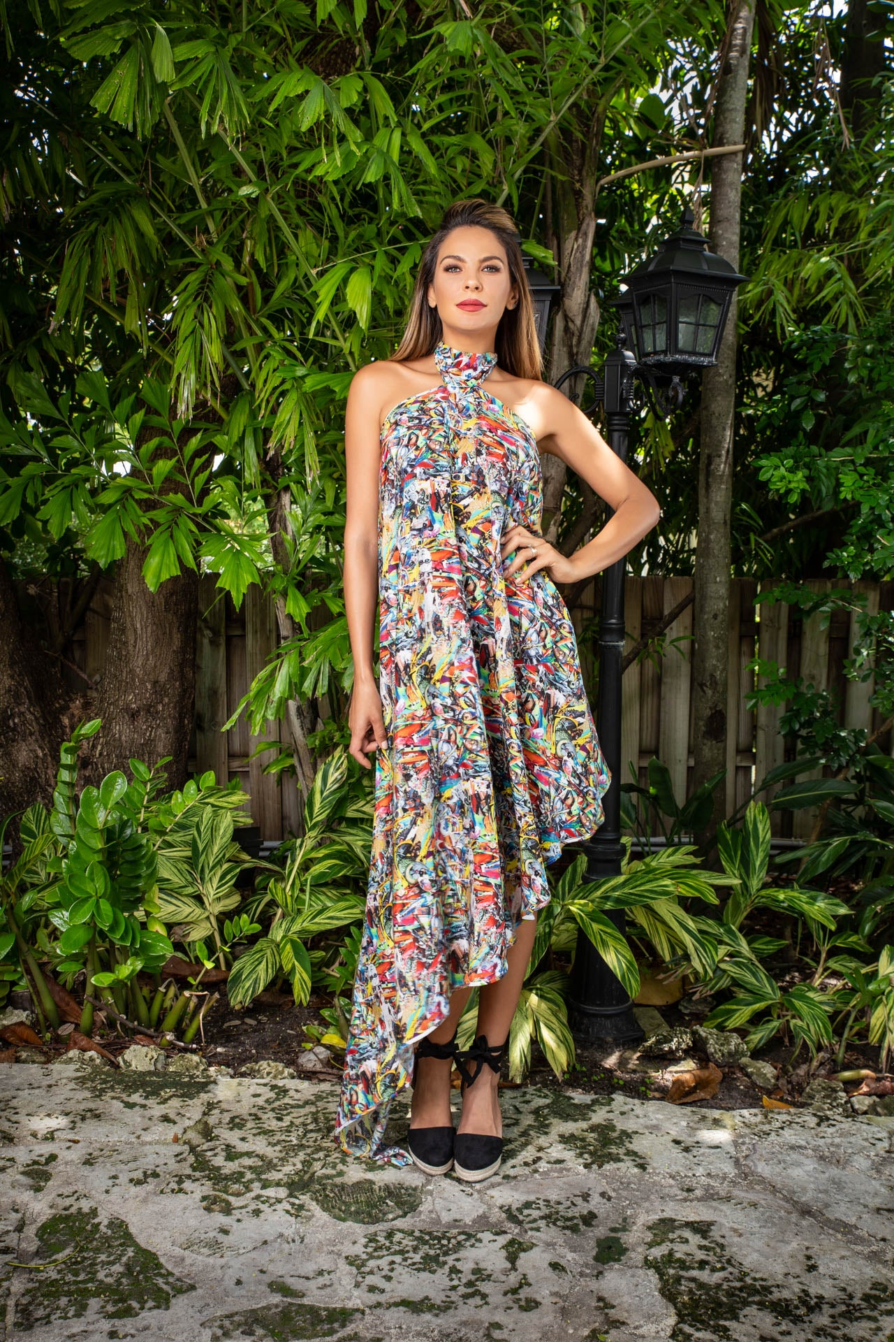 Fresco Silk Dress - Color Warrior Print Dresses - artTECA